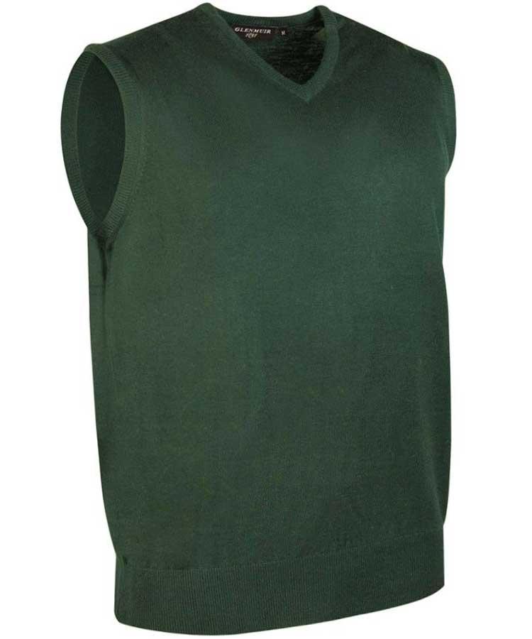 Glenmuir Men's Rankin V Neck Fine Merino Slipover Tartan Green