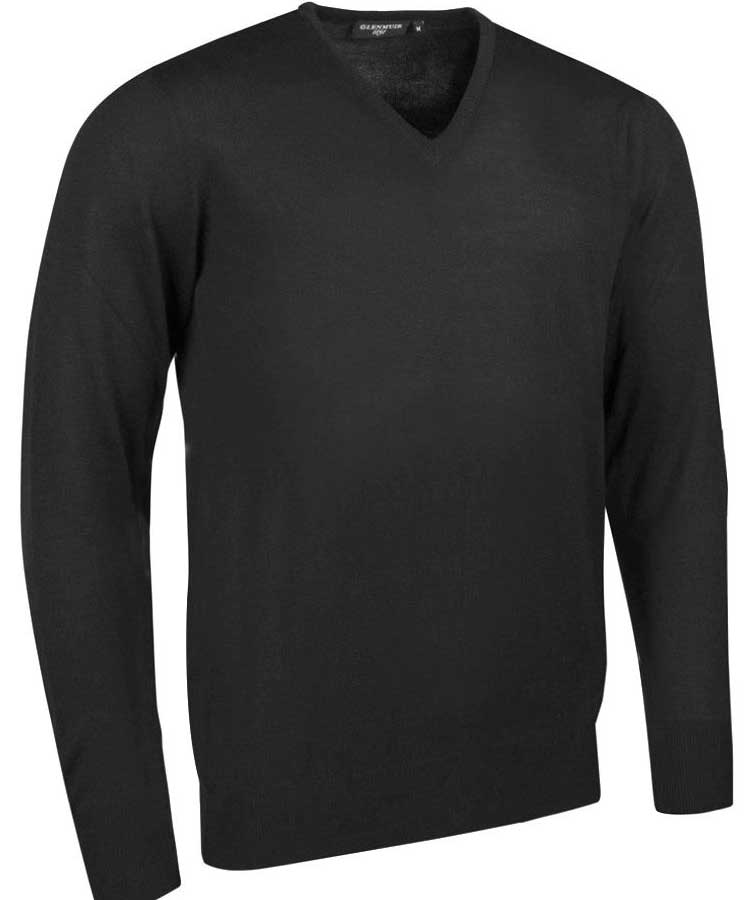 Glenmuir Men's Wilkie V Neck Fine Merino Sweater - Black
