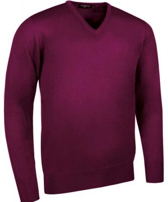 Glenmuir Men's Wilkie V Neck Fine Merino Sweater - Bordeaux