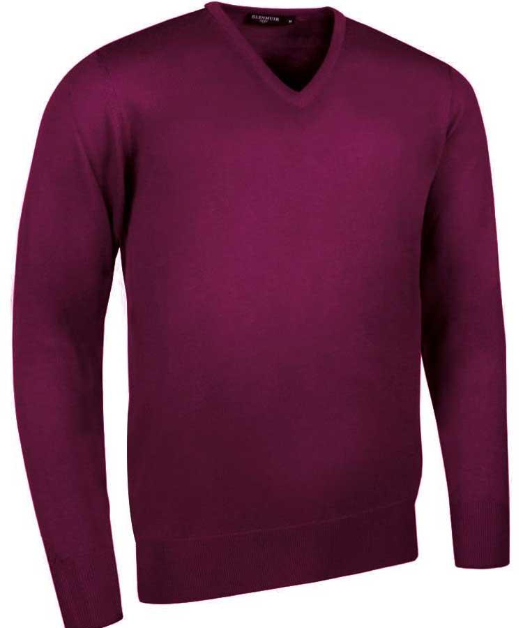 Glenmuir Men's Wilkie V Neck Fine Merino Sweater - Bordeaux