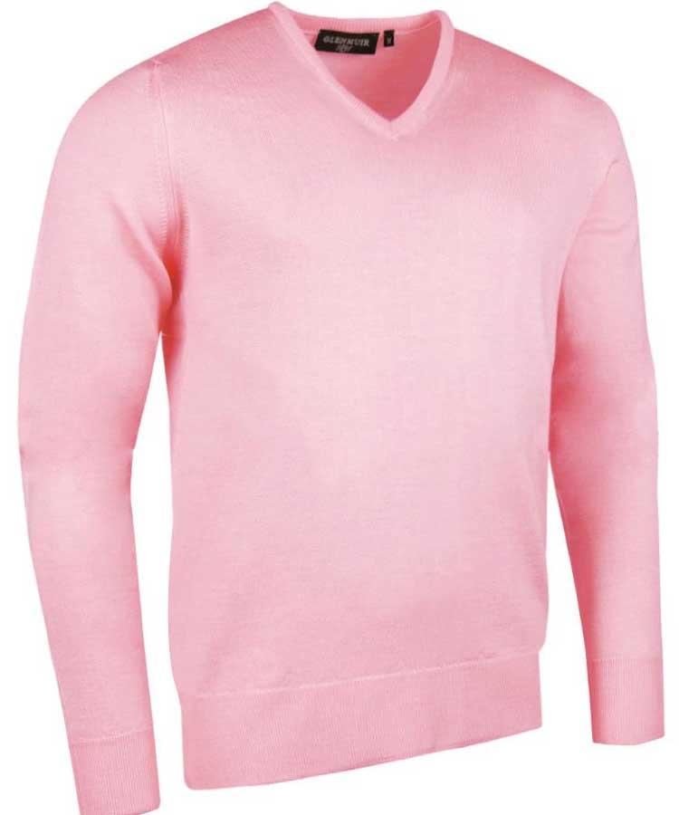 Glenmuir Men's Wilkie V Neck Fine Merino Sweater - Candy