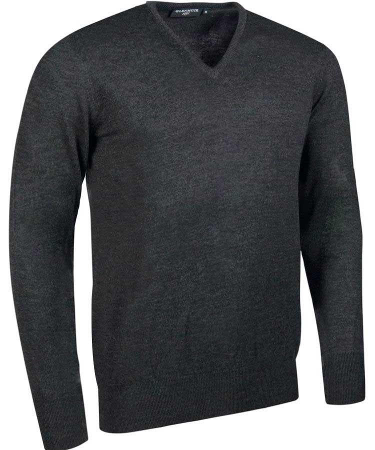 Glenmuir Men's Wilkie V Neck Fine Merino Sweater -Charcoal