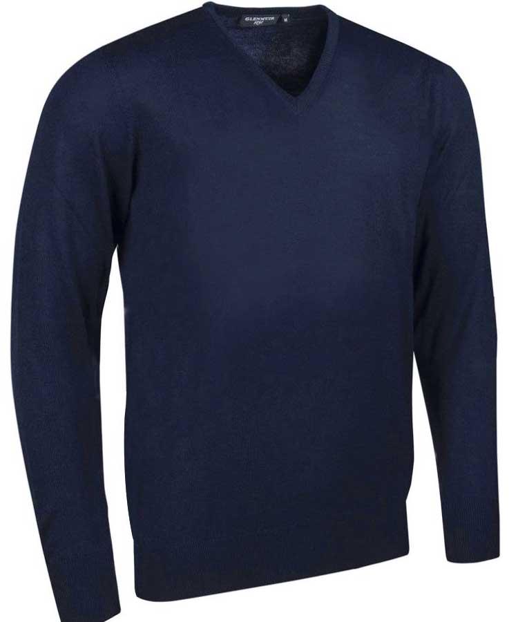 Glenmuir Men's Wilkie V Neck Fine Merino Sweater - Dark Navy