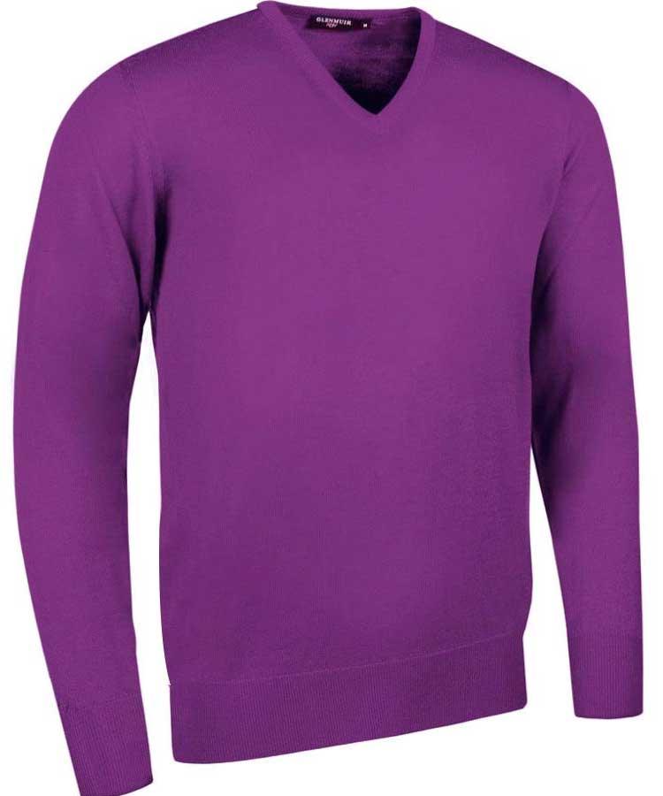 Glenmuir Men's Wilkie V Neck Fine Merino Sweater - Foxglove