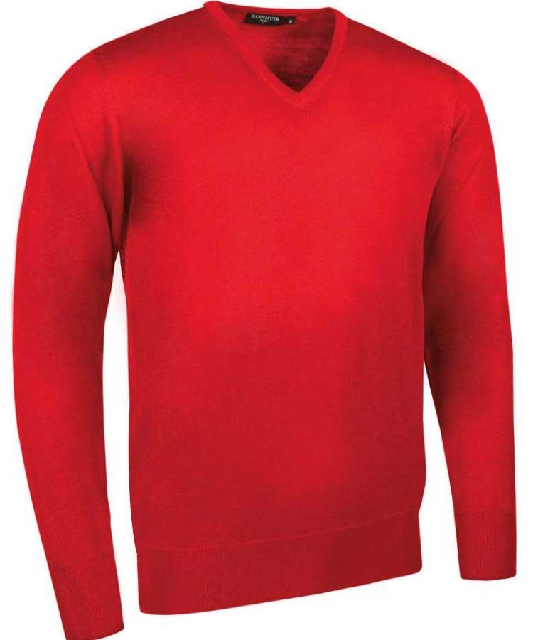 Glenmuir Men's Wilkie V Neck Fine Merino Sweater Garnet