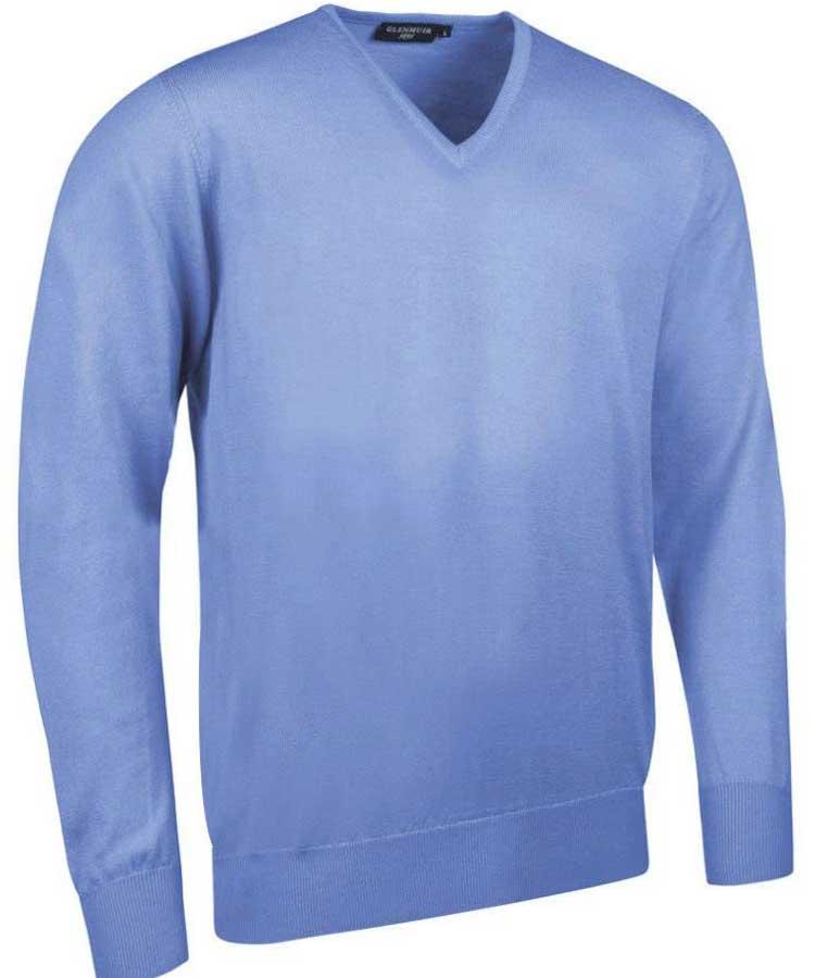 Glenmuir Men's Wilkie V Neck Fine Merino Sweater - Tahiti Marl Light Blue