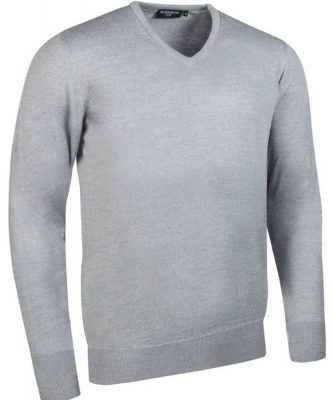 Glenmuir Men's Wilkie V Neck Fine Merino Sweater -Light Grey