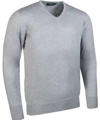 Glenmuir Men's Wilkie V Neck Fine Merino Sweater -Light Grey
