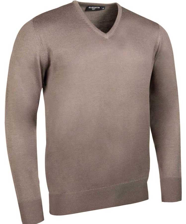 Glenmuir Men's Wilkie V Neck Fine Merino Sweater -Neutral Marl