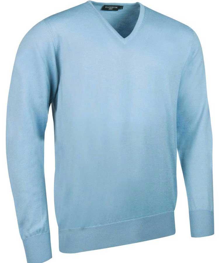 Glenmuir Men's Wilkie V Neck Fine Merino Sweater - Paradise