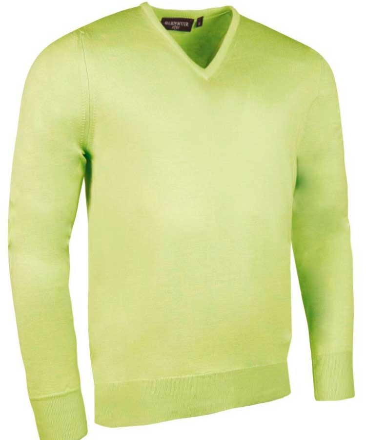 Glenmuir Men's Wilkie V Neck Fine Merino Sweater - Soft Lime