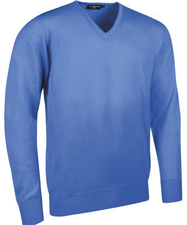 Glenmuir Men's Wilkie V Neck Fine Merino Sweater - Tahiti Marl