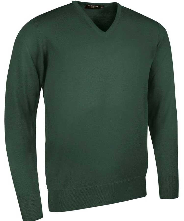Glenmuir Men's Wilkie V Neck Fine Merino Sweater -Tartan Green