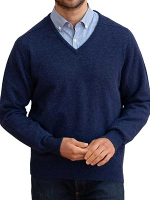 WILLIAM LOCKIE V-Neck - Mens Leven 2 Ply Lambswool - 35 Colour Options