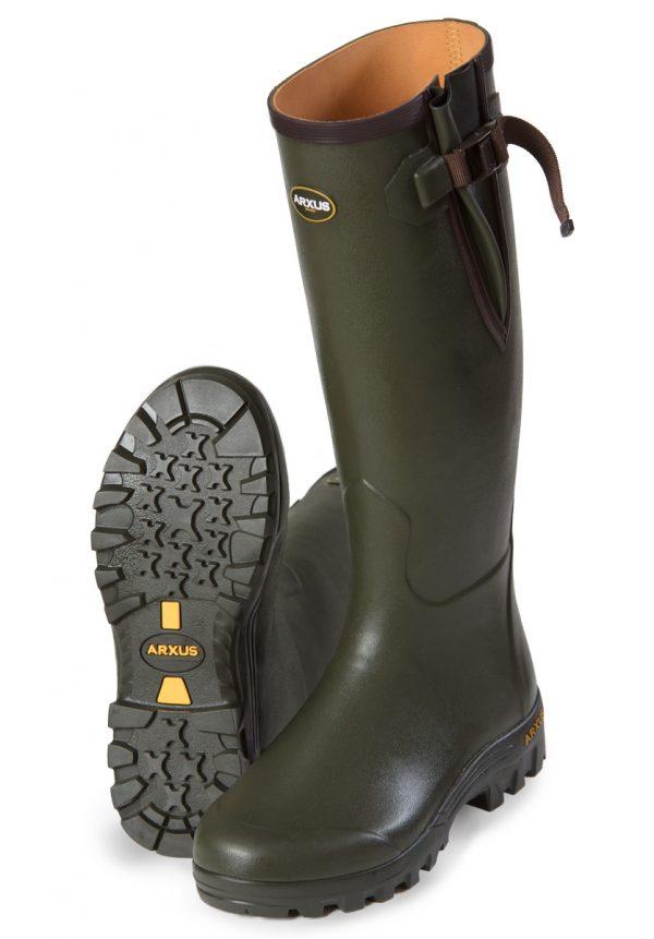 Arxus - Pioneer Side Adjustable Wellington Boots - Dark Olive