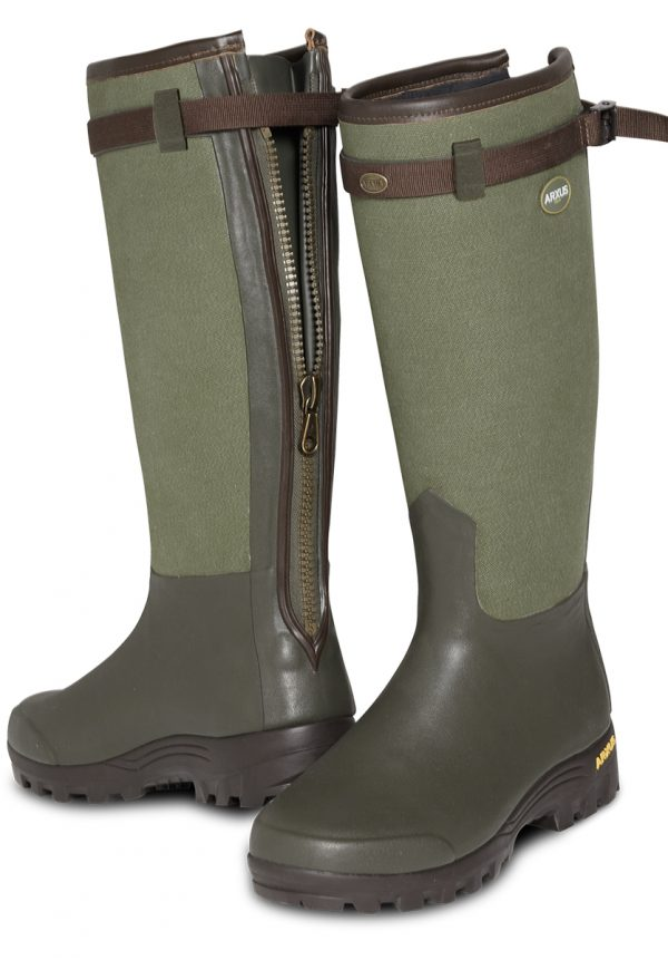 Arxus - Primo Canvas Zip Wellington Boots - Dark Green