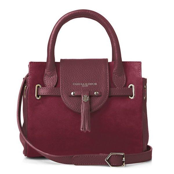 Fairfax & Favor Mini Windsor Handbag - Oxblood Suede