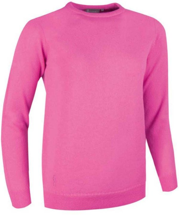 Glenmuir Ladies Esther Crew Neck Lambswool Sweater - Hot Pink