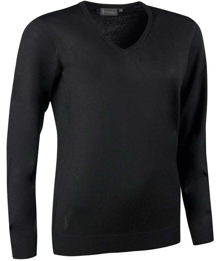 Glenmuir Ladies Maya V Neck Extra Fine Merino Sweater - Black