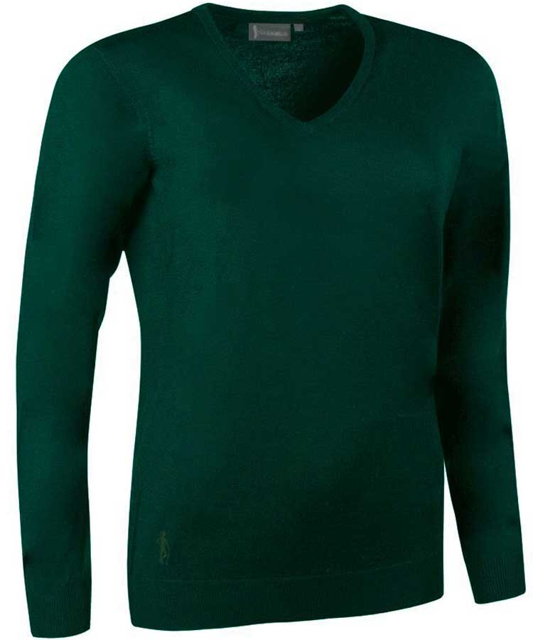 Glenmuir Ladies Maya V Neck Extra Fine Merino Sweater - Bottle Green