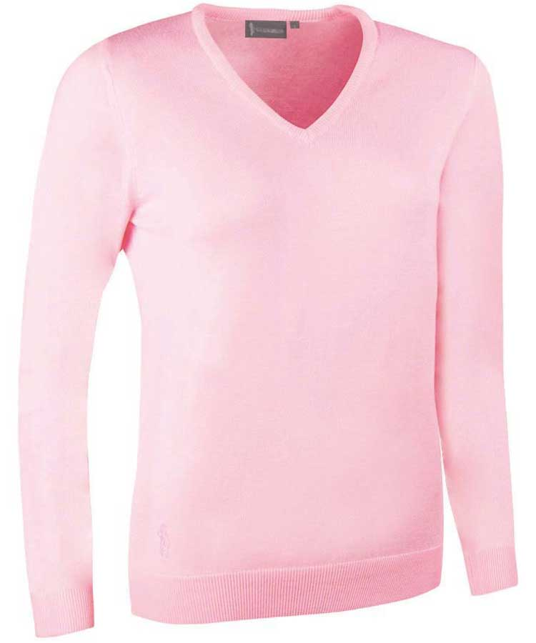 Glenmuir Ladies Maya V Neck Extra Fine Merino Sweater - Candy