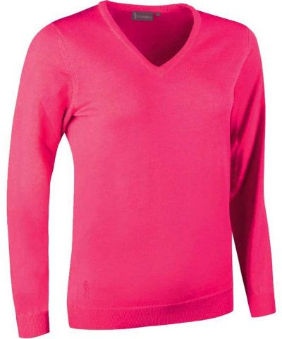 Glenmuir Ladies Maya V Neck Extra Fine Merino Sweater - Daiquiri