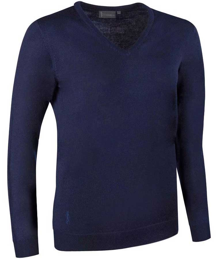 Glenmuir Ladies Maya V Neck Extra Fine Merino Sweater - Dark Navy