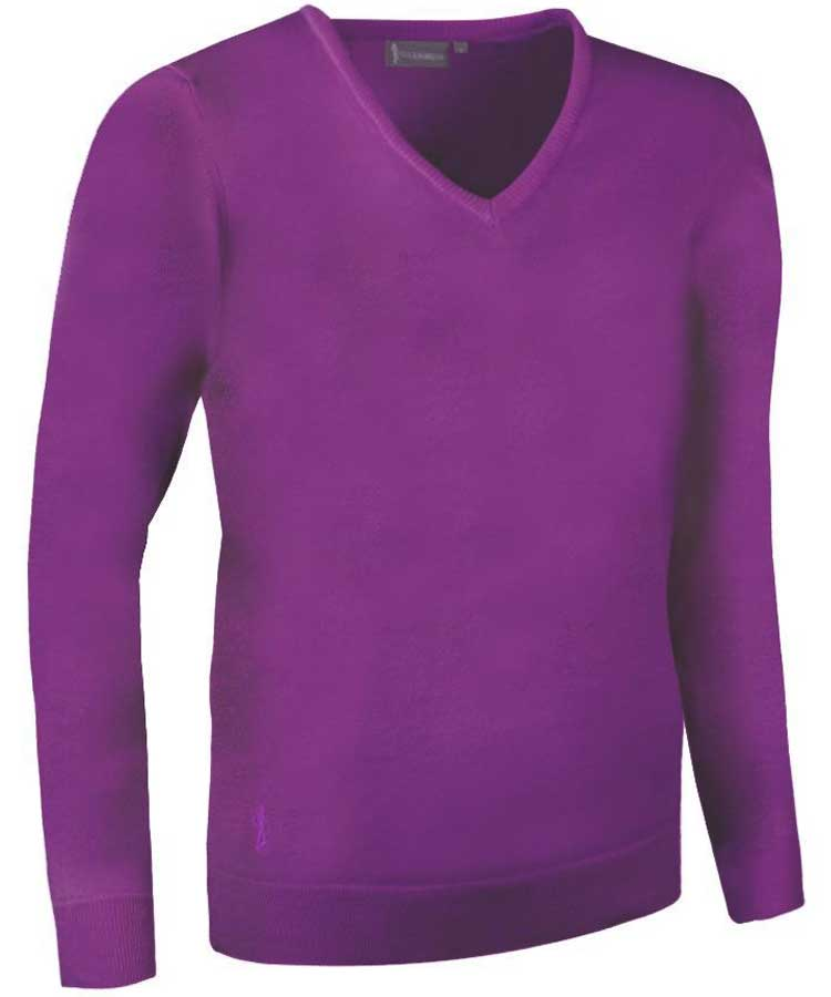 Glenmuir Ladies Maya V Neck Extra Fine Merino Sweater - Foxglove