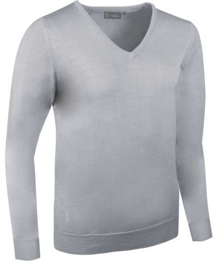 Glenmuir Ladies Maya V Neck Extra Fine Merino Sweater - Light Grey