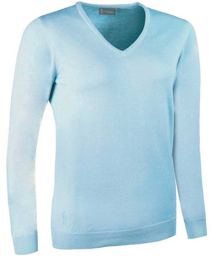 Glenmuir Ladies Maya V Neck Extra Fine Merino Sweater - Paradise