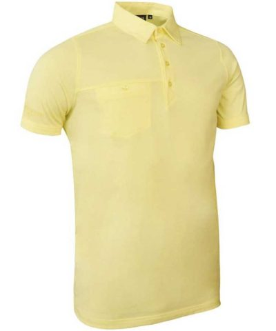 Glenmuir Men's Chest Pocket Performance Cotton Polo Shirt Light Yellow