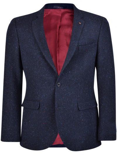 MAGEE Tweed Jacket - Mens Handwoven Donegal Tweed Finn Tailored Fit - Navy Salt & Pepper