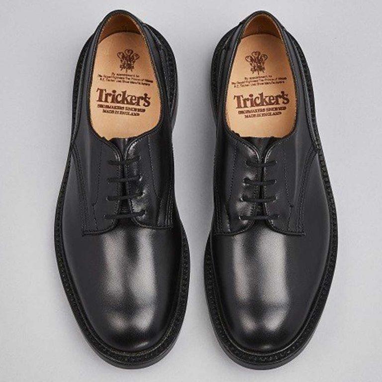 Tricker's Woodstock Plain Derby Shoes - Black