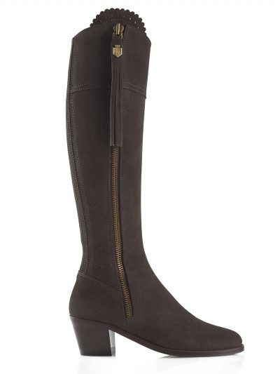 FAIRFAX & FAVOR Boots - Ladies Heeled Regina - Chocolate Suede