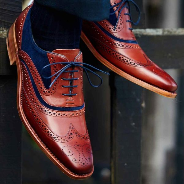 Barker McClean Brogue Shoes - Rosewood Calf & Navy Blue Suede