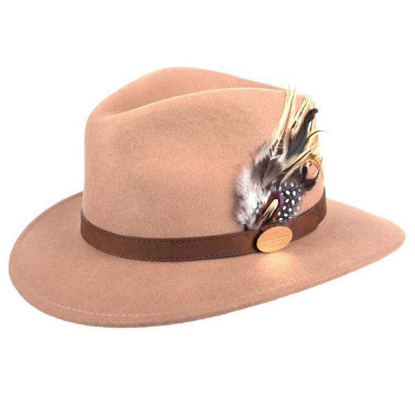 HICKS & BROWN Hat - Ladies Suffolk Guinea and Pheasant Feather Fedora - Camel