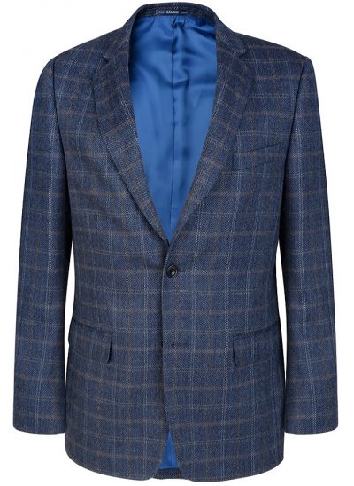 Magee Mens Jacket - Blue Checked Classic Fit