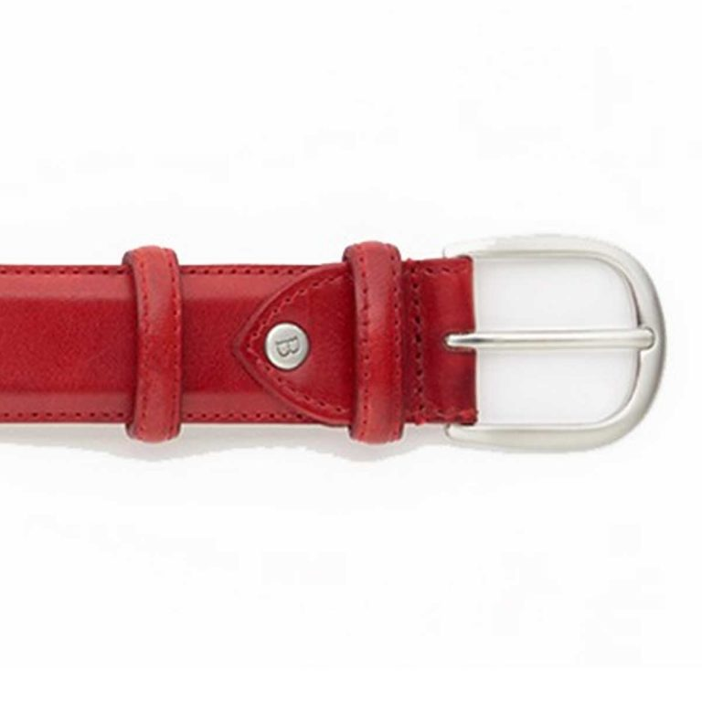 Barker Leather Plain Belt - Red Hand Painted