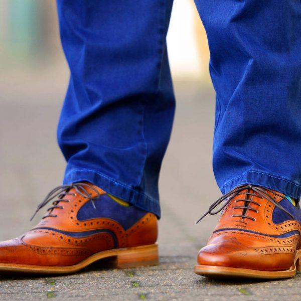 Barker McClean Brogue Shoes - Cedar Calf & Blue Suede