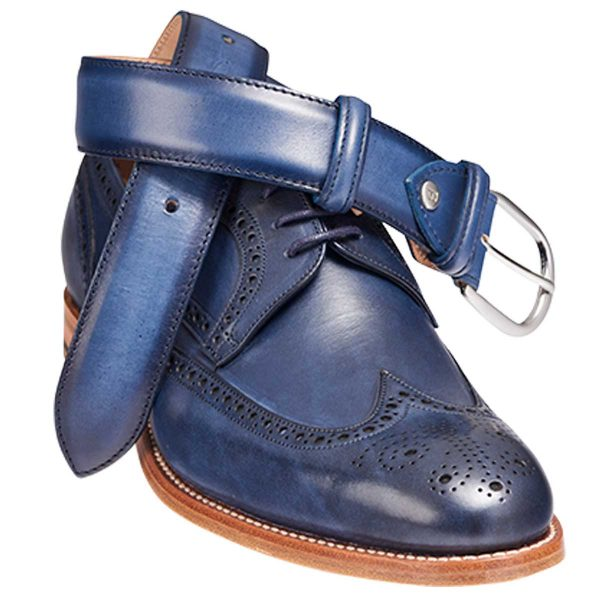 Barker Navy Hand Painted Shoe with Matching Belt