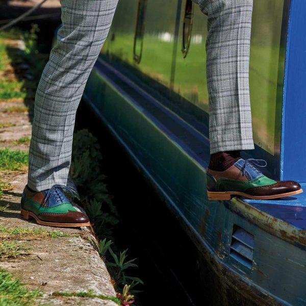 Barker Shoes - Mens Valiant Brogues - Ebony, Green & Blue Hand Painted