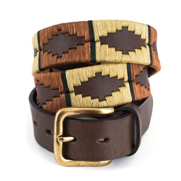 Pioneros - Argentinian Polo Belt 132 Copper/Beige with Green Stripe