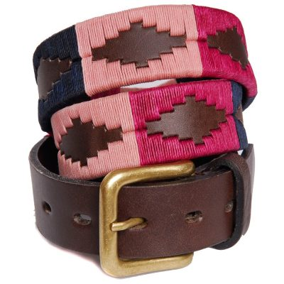 Pioneros - Argentinian Polo Belt in Berry/Navy/Pink