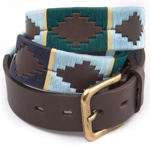 Pioneros - Argentinian Polo Belt 156 Green/Pale Blue/Navy with Cream Stripe