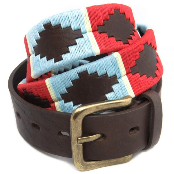 Pioneros - Argentinian Polo Belt 163 Pale Blue/Red with White Stripe