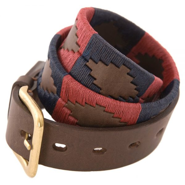 Pioneros - Argentinian Polo Belt in Burgundy/Navy