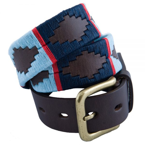 Pioneros - Argentinian Polo Belt 186 Navy/Pale Blue with Red Stripe