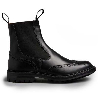 Tricker's Henry Elastic Brogue Boots - Black Calf
