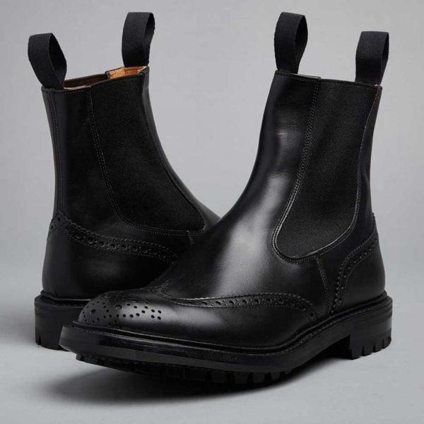 Tricker's Henry Elastic Brogue Boots - Black Calf