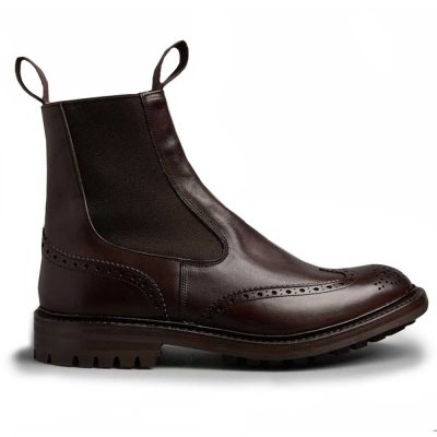 Tricker's Henry Elastic Brogue Boots - Espresso Burnished